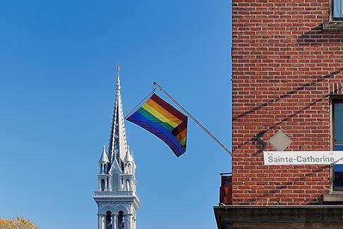 image 6-460-1916 Canada, Montreal, The Village, Rainbow Flag and ƒglise Sainte Brigide