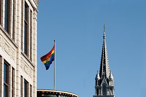 image 6-460-1943 Canada, Montreal, The Village, Rainbow Flag and ƒglise Sainte Brigide