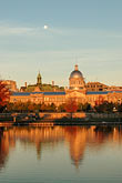 town stock photography | Canada, Montreal, Bonsecours Park and Hotel de Ville with full moon, image id 6-460-2175