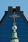 office hi rise stock photography | Canada, Montreal, Cross of Basilica of Notre Dame, image id 6-460-7542