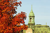 tree stock photography | Canada, Montreal, Hotel de Ville with fall foliage, image id 6-460-7872