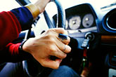 horizontal stock photography | New Mexico, Santa Fe, Hands on steering wheel, image id S4-200-8