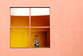 mexico stock photography | New Mexico, Santa Fe, Lady in window, College of Santa Fe, image id S4-350-1724