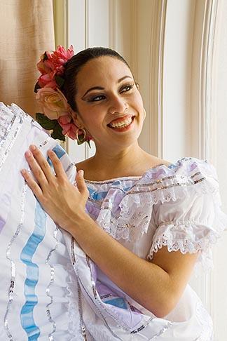 image 6-465-6993 Portraits, Nicaraguan dancer in traditional folk costume