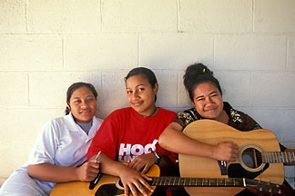 9-501-2  stock photo of Niue, Young Sunday School teachers, Avatele church