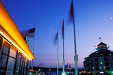 illuminated stock photography | California, Oakland, Jack London Square at dusk, image id 0-516-7
