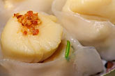 plate stock photography | Food, Dim Sum, Jumbo Scallop Dumplings (Tai Zi Gow), image id 4-729-55