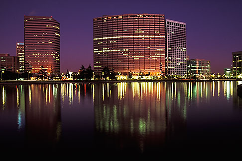 image 5-100-17 California, Oakland, Downtown skyline at dawn from Lake Merritt
