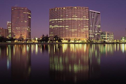 image 5-100-19 California, Oakland, Downtown skyline at dawn from Lake Merritt