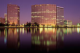 office building stock photography | California, Oakland, Downtown skyline at dawn from Lake Merritt, image id 5-100-19