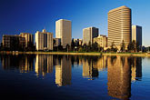 blue stock photography | California, Oakland, Downtown skyline from Lake Merritt, image id 5-100-29