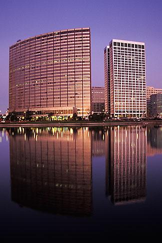 image 5-102-19 California, Oakland, Downtown skyline at dawn from Lake Merritt