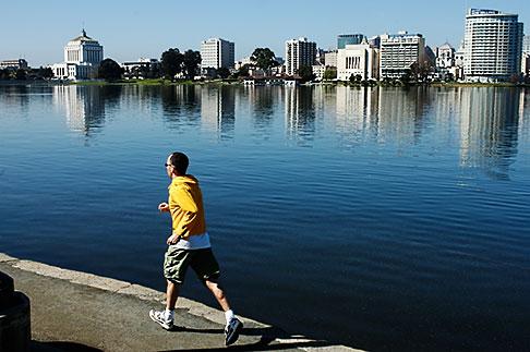 image S5-60-3457 California, Oakland, Jogger, Lake Merritt