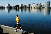 reflection stock photography | California, Oakland, Jogger, Lake Merritt, image id S5-60-3457