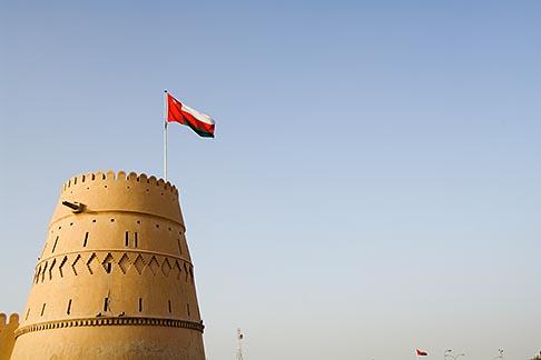 image 8-730-9832 Oman, Buraimi, Al Khandaq Fort, and Omani flag