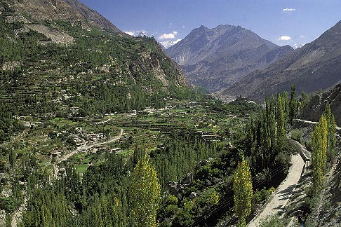 image 4-453-8 Pakistan, Hunza, View of Altit and Upper Hunza Valley