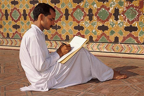 image 4-467-20 Pakistan, Lahore, Calligrapher, Wazir Khan Mosque