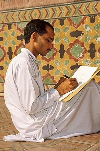 image 4-467-22 Pakistan, Lahore, Calligrapher, Wazir Khan Mosque