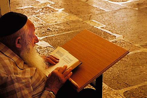 image 9-400-83 Palestine, West Bank, Hebron, Man praying in synagogue in Tomb of Abraham