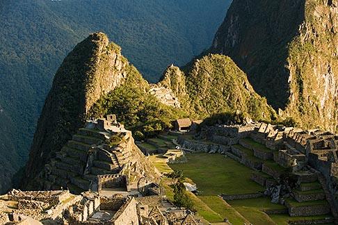 image 8-760-1442 Peru, Machu Picchu, Huayna Picchu peak and Machu Picchu Sacred Plaza