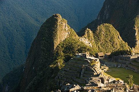 image 8-760-1449 Peru, Machu Picchu, Huayna Picchu peak and Machu Picchu Sacred Plaza