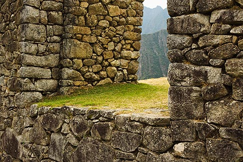 image 8-760-1566 Peru, Machu Picchu, Stonework detail, Inca ruins