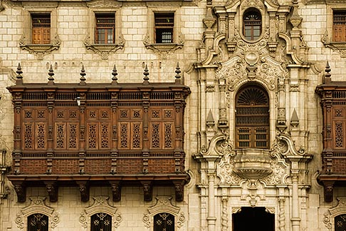 image 8-760-458 Peru, Lima, Decorated carved wooden balcony on Archbishops Palace, Palacio Episcopal