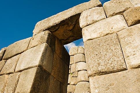 image 8-760-514 Peru, Cuzco, Sacsayhuaman Inco ruins, carved stone gateway