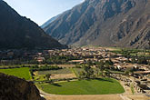 travel stock photography | Peru, Ollantaytambo, View of town and Urubamba Valley from Ollantaytambo Temple, image id 8-760-926