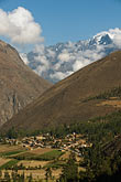 travel stock photography | Peru, Ollantaytambo, View of town and Andean peaks from Ollantaytmbo Temple, image id 8-761-1321