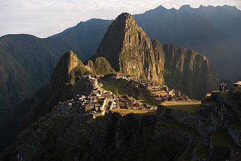 image 8-761-1637 Peru, Machu Picchu, Huayna Picchu peak and Machu Picchu Inca site from high on Machu Picchu Peak