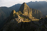 travel stock photography | Peru, Machu Picchu, Huayna Picchu peak and Machu Picchu Inca site from high on Machu Picchu Peak, image id 8-761-1637