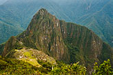 huayna picchu peak and machu picchu inca site from stock photography | Peru, Machu Picchu, Huayna Picchu peak and Machu Picchu Inca site from high on Machu Picchu Peak, image id 8-761-1656