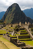 huayna picchu peak stock photography | Peru, Machu Picchu, Sacred Plaza, terraces and Huayna Picchu peak , image id 8-761-1719