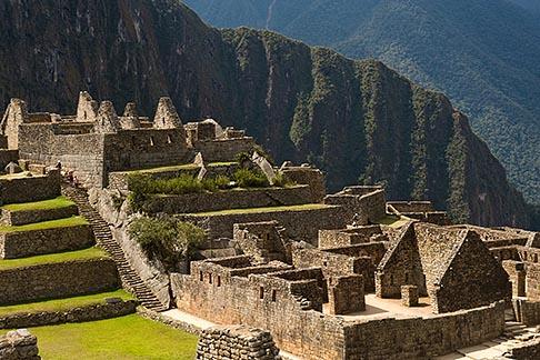 image 8-761-1722 Peru, Machu Picchu, Sacred Plaza, terraces and stone ruins