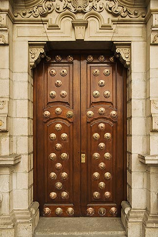 image 8-761-556 Peru, Lima, Ornate carved wooden doorway