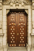 ornate carved wooden doorway stock photography | Peru, Lima, Ornate carved wooden doorway, image id 8-761-556
