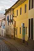 narrow stock photography | Peru, Cuzco, Narrow cobbled street in historic San Blas district, image id 8-761-880