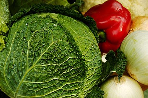 image 4-960-1341 Vegetables, Cabbages in market