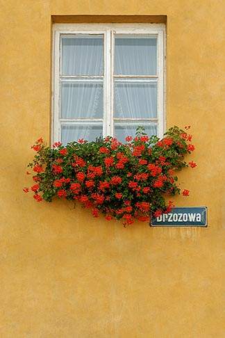 image 7-700-137 Poland, Warsaw, Window with flowerboxes, Old Town, Stare Miasto