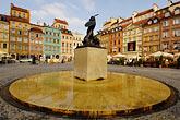 town stock photography | Poland, Warsaw, Statue of Warsaw Mermaid, Warszawska Syrenka, Rynek Starego Miasta, Old Town Square, image id 7-700-7575