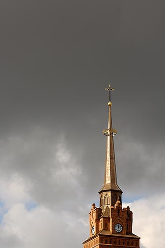 image 7-720-8158 Poland, Tarnow, Tarnow Cathedral spire with storm clouds