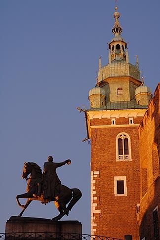 image 7-730-8858 Poland, Krakow, Wawel, Tadeusz Kosciuszko Monument and Cathedral tower