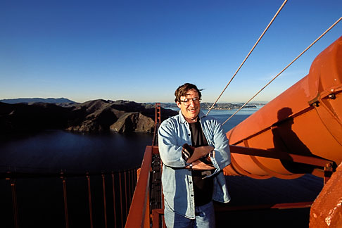 image 1-62-20 California, San Francisco, David Sanger on Golden Gate Bridge