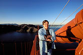one man only stock photography | California, San Francisco, David Sanger on Golden Gate Bridge, image id 1-62-20