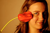 horizontal stock photography | Portraits, Young lady and tulip, image id S5-90-5321