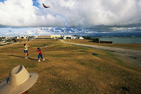 image 1-350-97 Puerto Rico, San Juan, Kite flying in front of El Morro