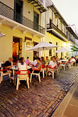 historic district stock photography | Puerto Rico, San Juan, Outdoor cafe, Calle del Cristo, image id 1-352-52