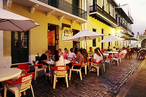 image 1-352-55 Puerto Rico, San Juan, Outdoor cafe, Calle del Cristo