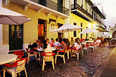 historic district stock photography | Puerto Rico, San Juan, Outdoor cafe, Calle del Cristo, image id 1-352-55